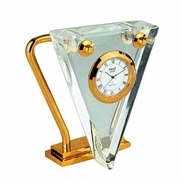 Crystal and gold triangular clock