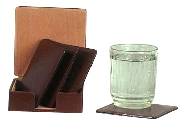 Leather Coasters in Leather Container