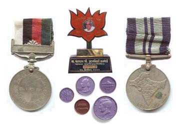 Metal badges and coins