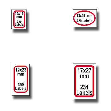 Round Corner Red Border Labels